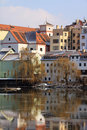 The medieval town Pisek on the river Otava Royalty Free Stock Photo