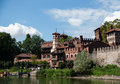Medieval town in torino summer piemonte attraction turin Royalty Free Stock Photo