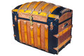 Medieval treasure chest isolated on white Royalty Free Stock Photo