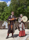 Medieval troubadours nogent le rotrou france may two playing a traditional song during the percheval festival near the Royalty Free Stock Photo