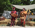 Medieval troubadours nogent le rotrou france two troubadour performing in front of traditional tents during the percheval festival Stock Photography