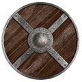 Medieval vikings round wooden shield isolated on white Stock Images