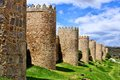 Medieval wall and towers surrounding Avila, Spain Royalty Free Stock Photo