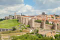 Medieval walls of historical city Avila, Spain Royalty Free Stock Photo