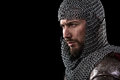 Medieval Warrior with chain mail armour and red Cloak Royalty Free Stock Photo