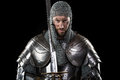 Medieval Warrior with chain mail armour and sword Royalty Free Stock Photo