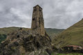Medieval watch tower  in village Sno  (Sno castle), Kazbegi regi Royalty Free Stock Photo