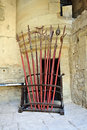 Medieval weapon melee the halberd peak spear and another in the castle of le barroux provence france Stock Images