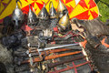 Medieval weapons armor and historical accessories Stock Image