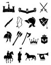 Medieval weapons icons set of ancient icon set in black Stock Photography