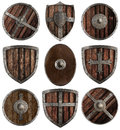 Medieval wooden shields collection isolated