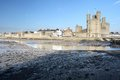 Medievil caernarfon castle estuary in north wales Stock Photos