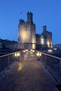 Medievil caernarfon castle at twilight in north wales Stock Photo