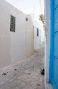 Medina's street in Sousse with white architectures Royalty Free Stock Images