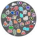 Medios dtickers sociales del icono Foto de archivo