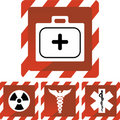 Medische Rode Waakzame Pictogrammen Stock Fotografie