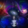 Meditaion skeletal figure meditates in cosmos Royalty Free Stock Photos