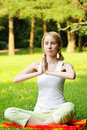 Meditating blonde Royalty Free Stock Image