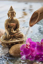 Meditating buddha with flower and water orchid next to religious peace symbol Stock Images