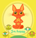 Meditating Cat Vector. Yoga Cat Vector. Cute Red Cat And Message I'M Happy.