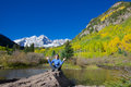 Meditating at maroon bells a girl the scenic aspen colorado in fall Stock Photography