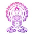 Meditating woman tribal ornamental tattooes in lotus pose. Yoga illustration.