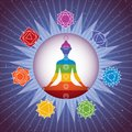 Meditating yoga girl silhouette with chakras signs in shining colorful circle on starry sky background