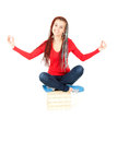 Meditating young student girl with books Royalty Free Stock Photography