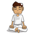 Meditation cartoon character Royalty Free Stock Photo