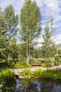 Meditation garden in betty ford park vail colorado Royalty Free Stock Images