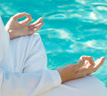 Meditation Hands Above Water Stock Photos