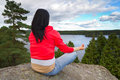 Meditation in idyllic scenery of Sweden Royalty Free Stock Photo