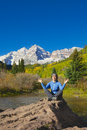 Meditation at maroon bells a girl meditating the scenic aspen colorado in fall Royalty Free Stock Images