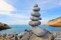 Meditation pile of pebbles in the balance on the seacoast Royalty Free Stock Images