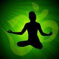 Meditation pose silhuette of meditaion on a green background Royalty Free Stock Images
