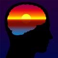 Meditation Quiet Brain Sundown Imagination Royalty Free Stock Photo