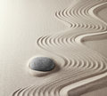 meditation rock Japanese zen garden Royalty Free Stock Photo