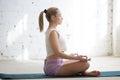 Meditation in sunny room Royalty Free Stock Photo