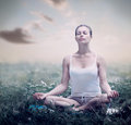 Meditation woman yoga outdoor Royalty Free Stock Photos