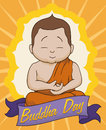 Meditative Scene in Buddha Day, Vector Illustration