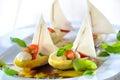 Mediterranean chicory sailboats Royalty Free Stock Photo