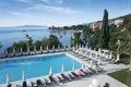 Mediterranean city opatija seascape poolside in croatia summer Stock Photo