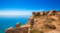 Mediterranean cliff in south of france Stock Photography
