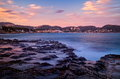 Mediterranean coast at sunset Royalty Free Stock Photo