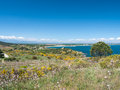 Mediterranean coastal landscape view of the coast of the sea Stock Images