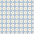 Mediterranean decor pattern. Lisbon tile ornament, decorative floor tiles mosaic. Blue and gold seamless pattern vector