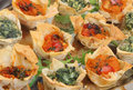 Mediterranean Filo Pastry Canapes Royalty Free Stock Images