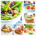 Mediterranean food collage with salads bruschetta lasagne and pasta Royalty Free Stock Photo