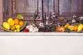 Mediterranean fruits composition and old window Royalty Free Stock Images