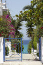 Mediterranean garden with the view on the sea Royalty Free Stock Images